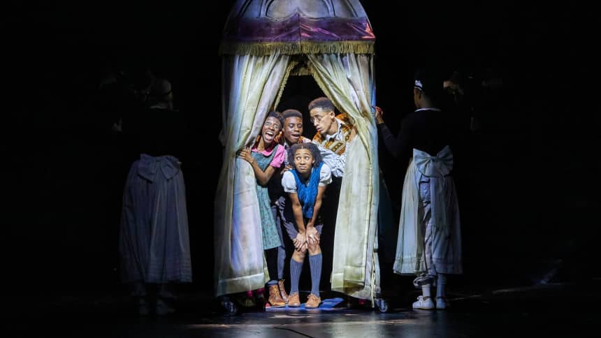 Characters Lucy, Edmund, Peter and Susan in The Lion, The Witch and The Wardrobe at Wales Millennium Centre, December 2020