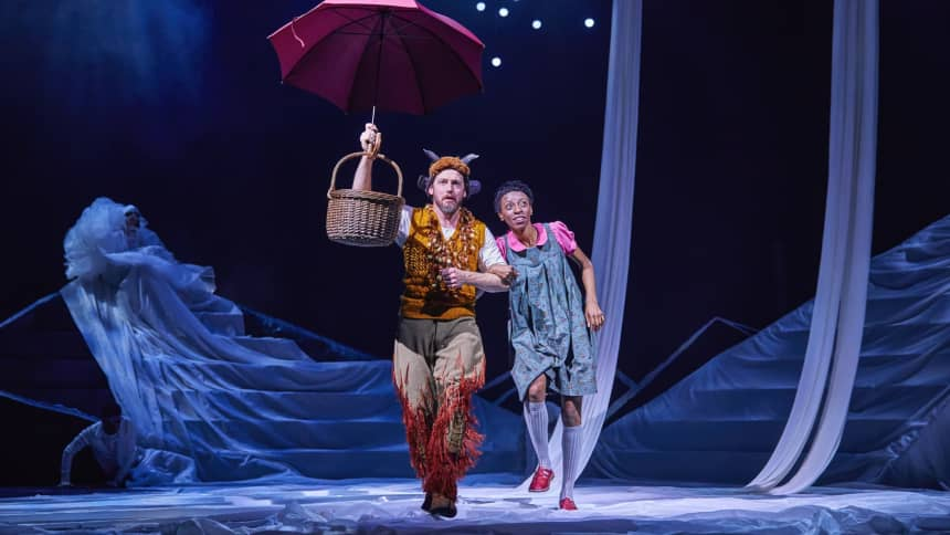 Characters Lucy and Mr Tumnus in The Lion, The Witch and the Wardrobe at Wales Millennium Centre in December 2020