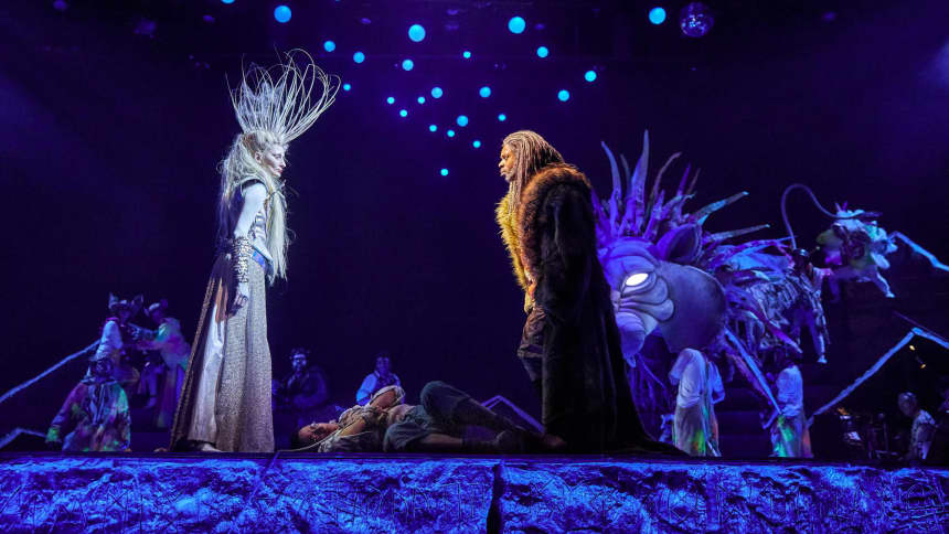 Characters The White Witch and Aslan in The Lion, The Witch and the Wardrobe at Wales Millennium Centre in December 2020