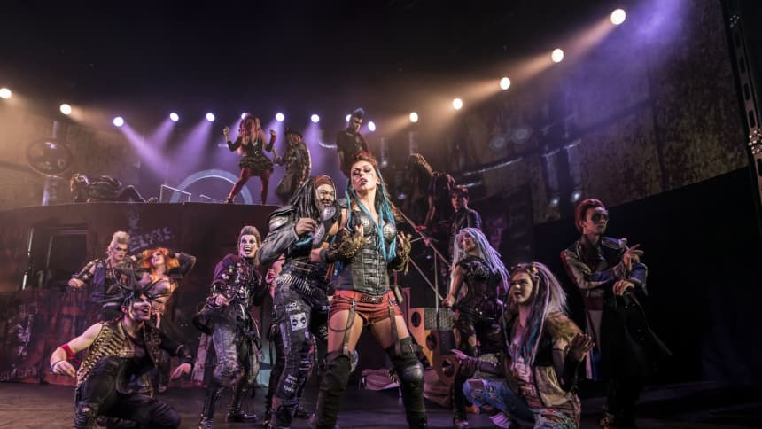 The cast of the musical sensation We Will Rock You, before it comes to Cardiff in April 2020