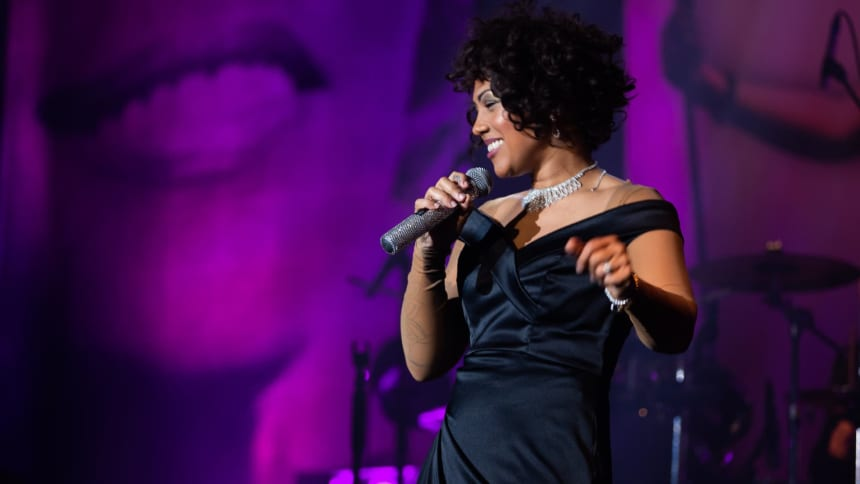 "Elesha Paul Moses as Whitney Houston tribute act in West-End Hit ""Whitney - Queen of the Night"" at Wales Millennium Centre"