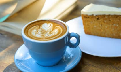 a coffee and a slice of cake