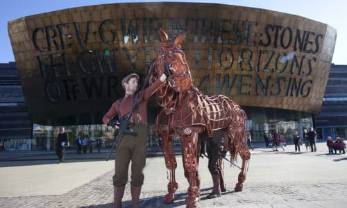 Warhorse outside the theatre