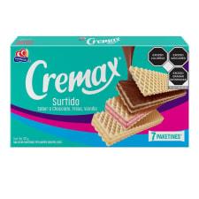 Galletas Gamesa Cremax tipo wafer surtido sabor chocolate vainilla y fresa 7 paketines de 46 g c/u