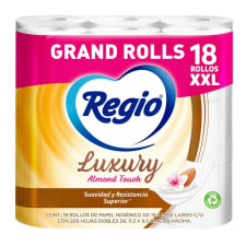 Papel higiénico Regio Luxury Almond Touch 18 rollos con 205 hojas dobles