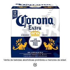 Cerveza clara Corona Extra 12 botellas de 355 ml c/u
