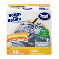 Bolsas para basura Great Value jumbo con plastinudo 90 pzas