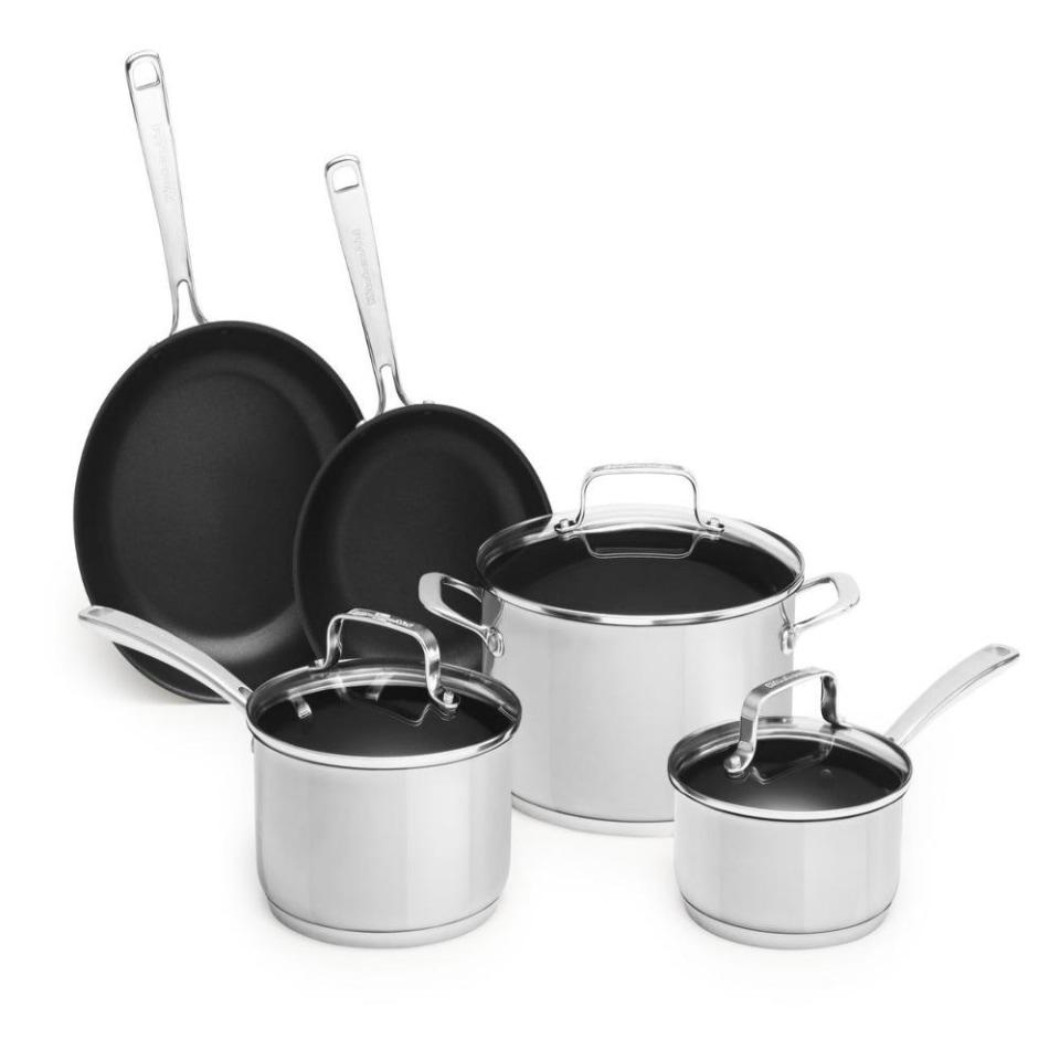 Bateria De Cocina 8 Piezas Color Silver Kitchenaid Kc2ssn08ls