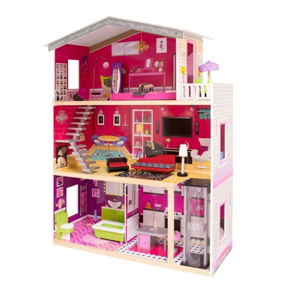 Casa De Muñecas De Madera Con Muebles Isabella Casita De