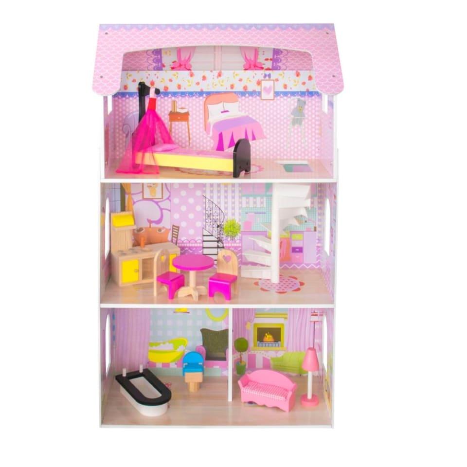 Casa De Muñecas De Madera Con Muebles Stephanie Casita De