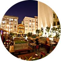 Cocktails at Jones Roof top terrace
