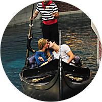 Take a romantic gondola ride through Venice