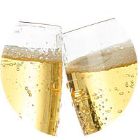 Bottle of champagne at romantic dinner