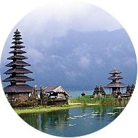 Pura Ulun Danu Batur Temple on the shores of Lake Bratan