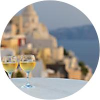 Special White Wine to complete the sunset scenario in Santorini.