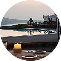 Romantic dinner in Santorini.