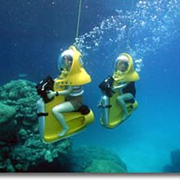 Underwater submarine scooter adventure