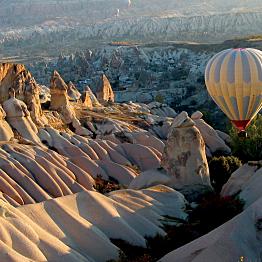 Hot air balloon over the Fairy Chimneys in Cappadocia
