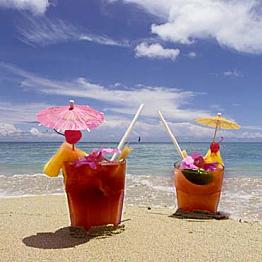 Tropical drinks on the beach