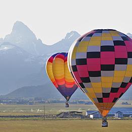 Hot Air Balloon Ride over the Grand Teton Mountain Range