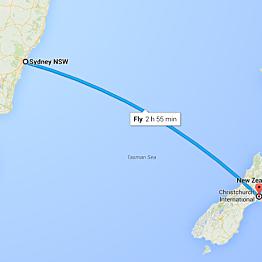 Airfare - Christchurch, New Zealand to Sydney, Australia