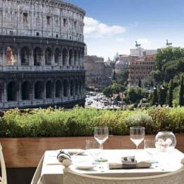 Dinner at Gladiatori on Via Labicana overlooking The Coliseum