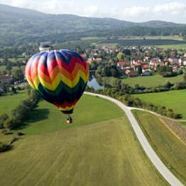 Romantic hot air balloon ride over Quebec countryside