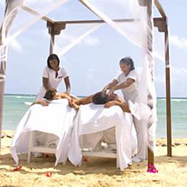 Couple massage on the beach
