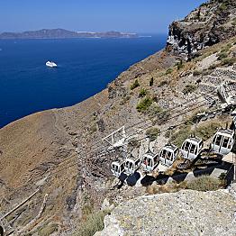 Ride the tram in Santorini