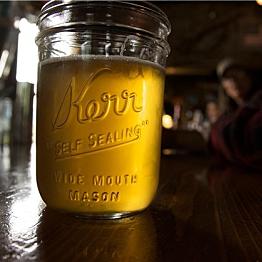 Drinking beer from mason jars
