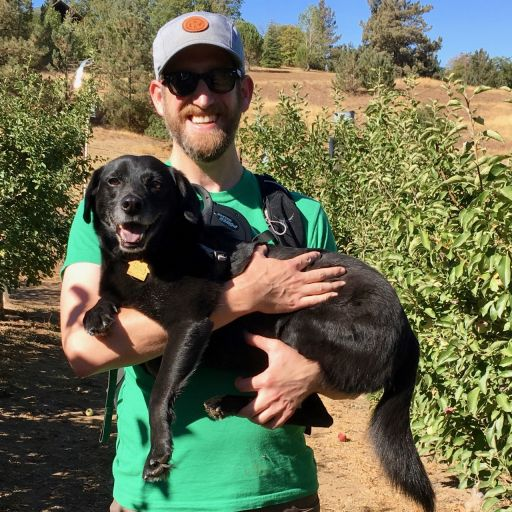 Cooper, the tiny black dog, and I in Julian, California