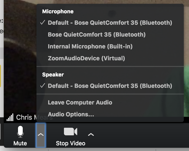 Zoom microphone settings screenshot