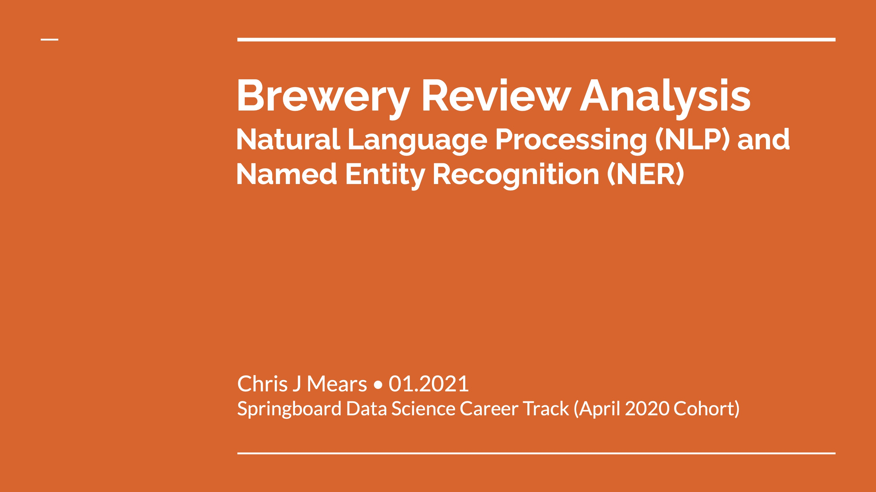 Brewery Review Analysis with NLP and NER title slide