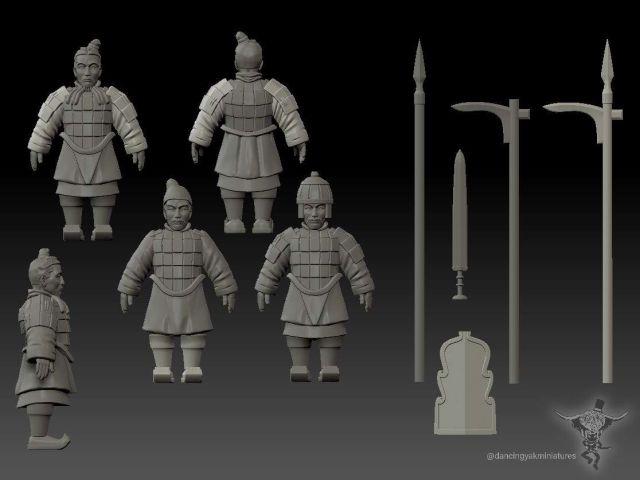 10mm Terracotta Army Terracotta-spearmen-wip