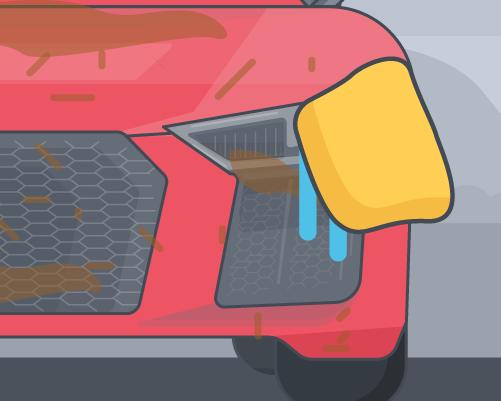 wiping headlights of car