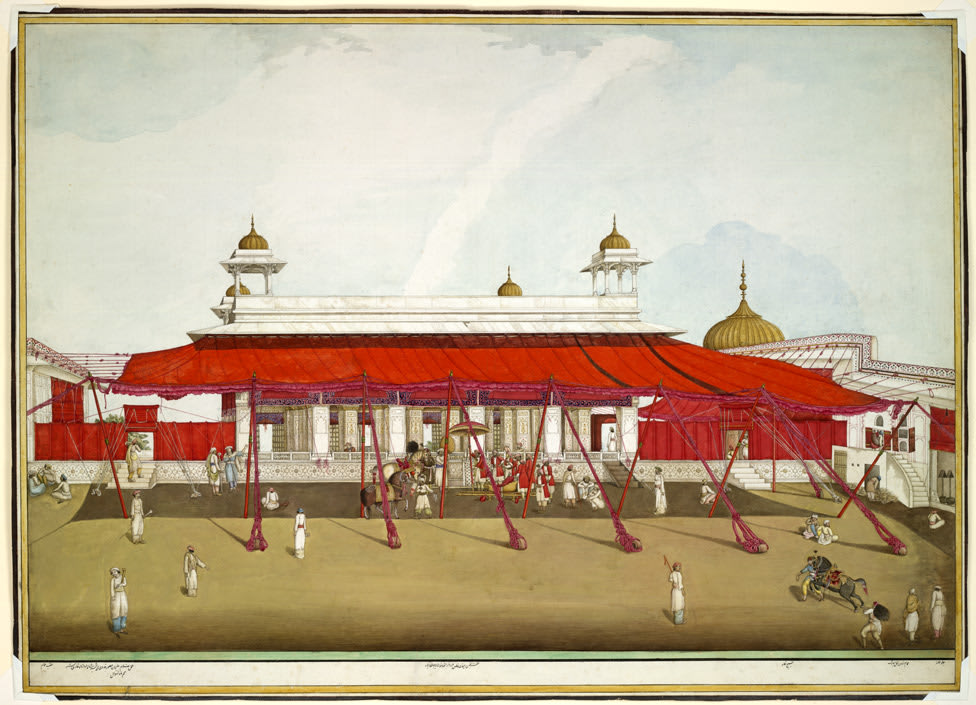 Watercolour painting of an Indian palace made of white stone, with gold domes and a red awning extending into a courtyard area with various figures.