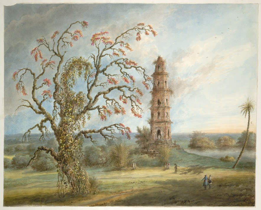 Watercolour painting of a large tree with a tower in the middle distance which is approached by a few small figures