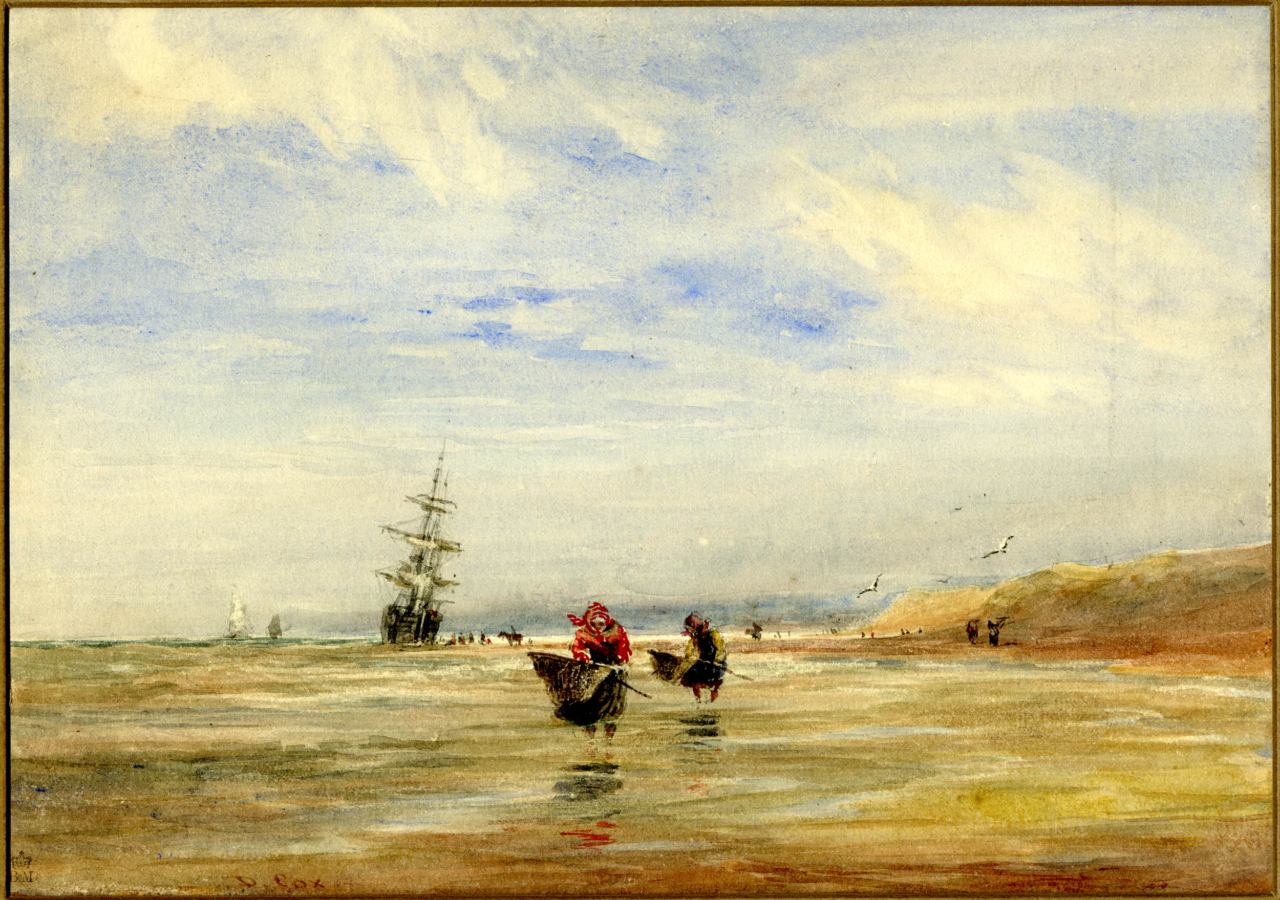 Watercolour painting of a beach scene: two women, centre, wade in the shallows with shrimping nets; other people dotted along the shoreline; a ship and two sailing boats visible in the sea.