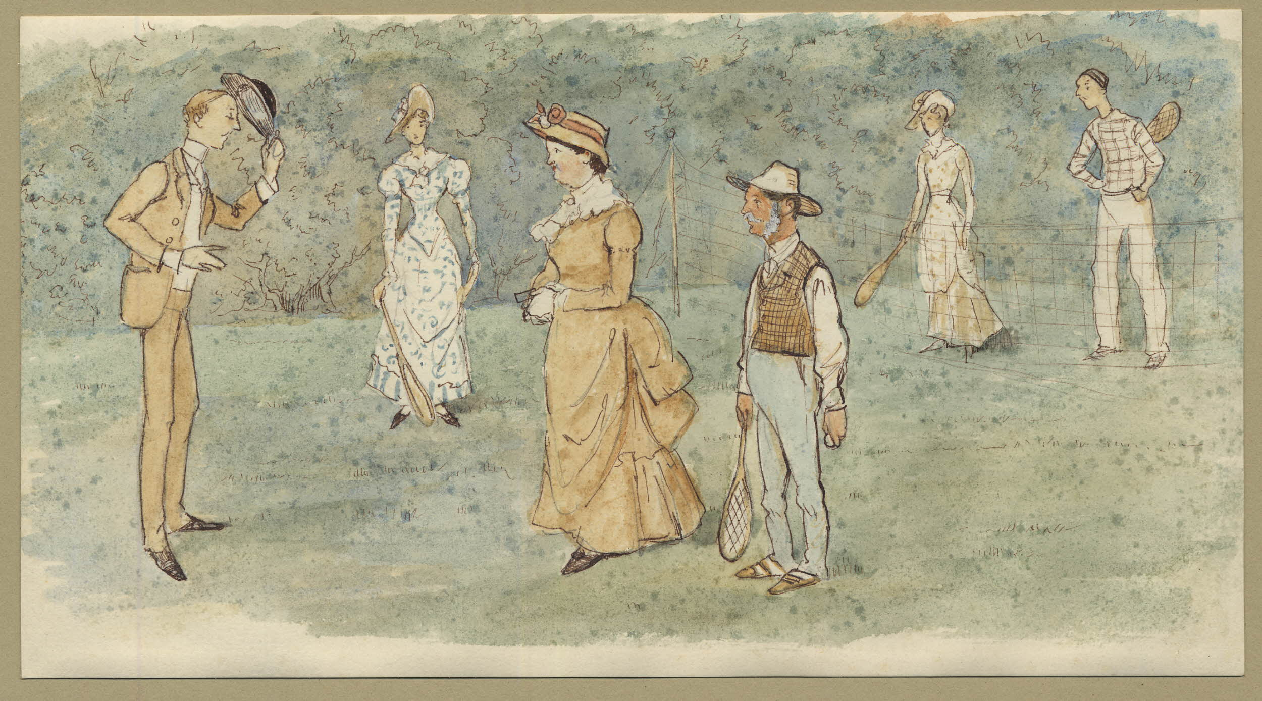 Watercolour. A man doffs his hat to a party of three women and two men on a lawn tennis court. All wear Victorian dress.