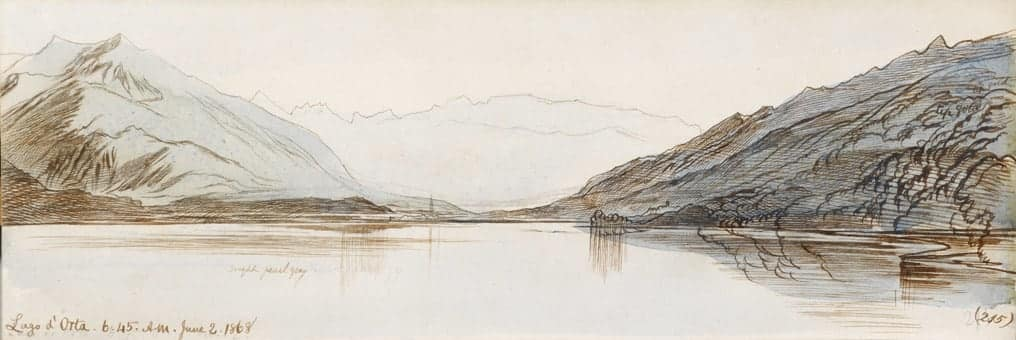 Dawn on Lago D'Orta, June 1868, watercolour painting by Edward Lear