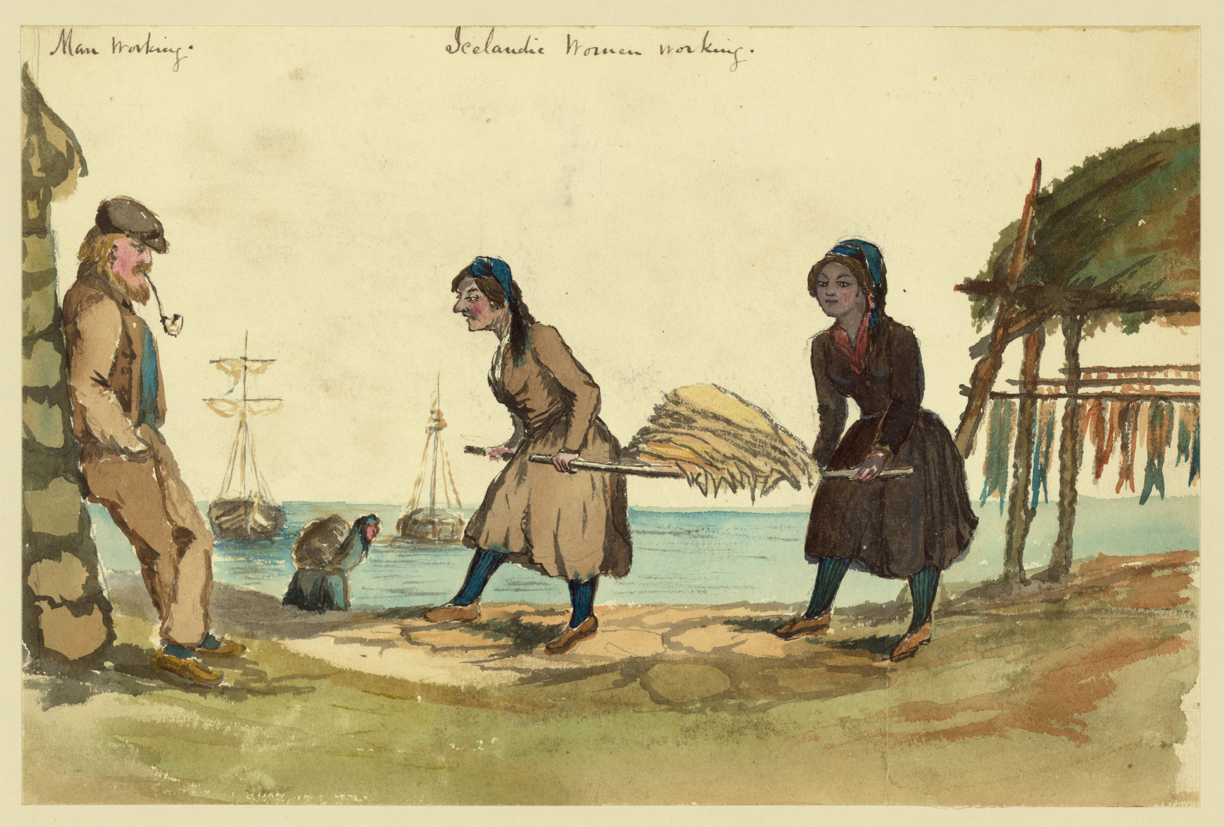 Watercolour painting. A man leans on a wall smoking a pipe to the left. In the centre, two women carry fish on a stretcher-type carrier. More fish hung out to dry on a wooden frame at right. In the background, another women carries a pack on her back and two ships are visible in the sea behind.