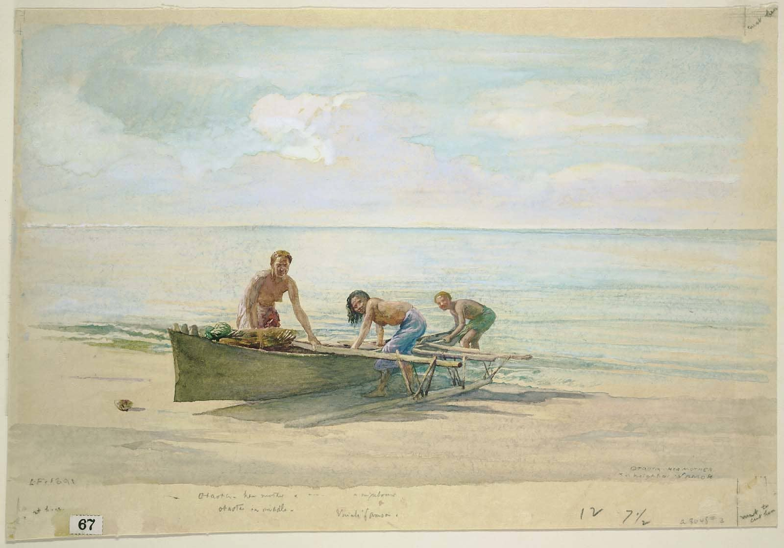 Watercolour painting. Three women pull a Pacific canoe out of the water onto a sandy beach.