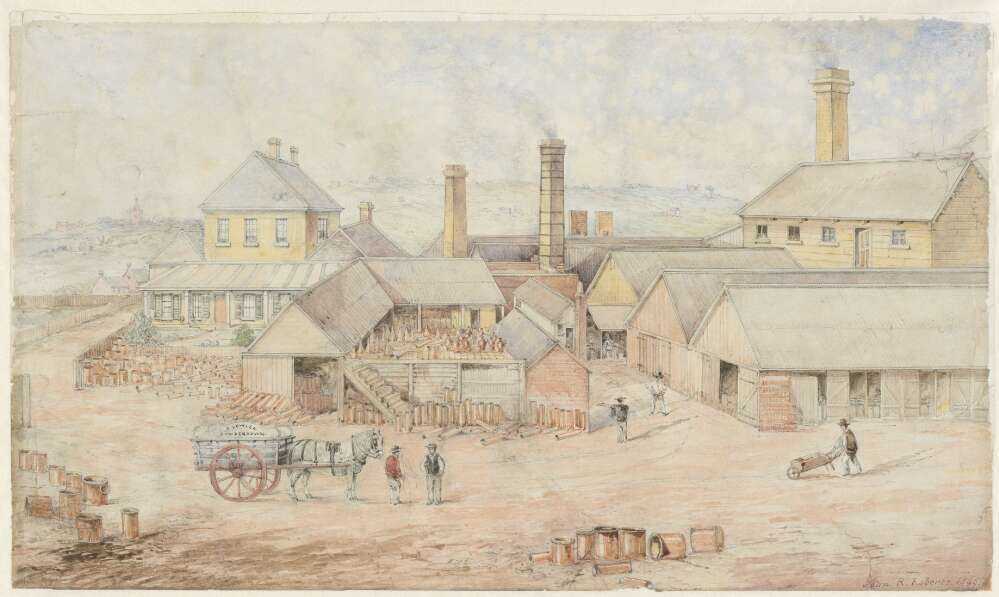 Watercolour painting showing a 19th-century pottery factory. Figures with a horse and cart and a wheelbarrow are visible in the foreground, with factory buildings, stacks of tiles and chimneys behind.