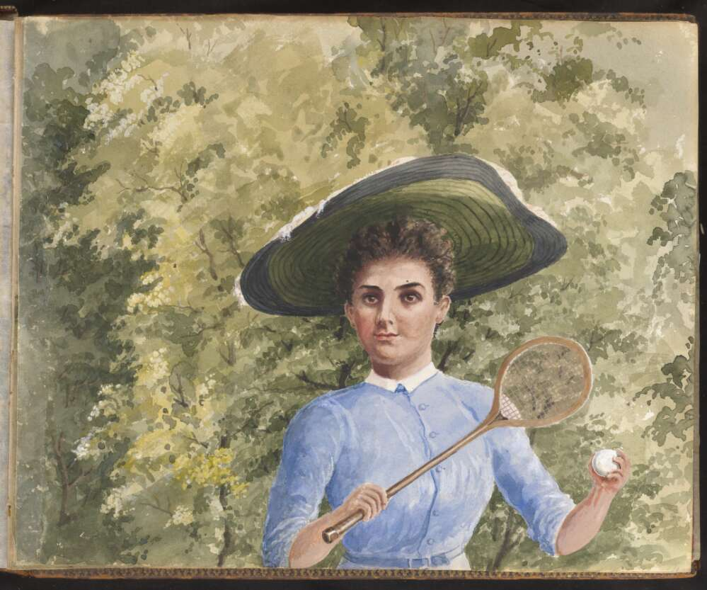 A watercolour of a woman, shown from the waist up in a wide-brimmed hat holds a tennis racquet and ball.