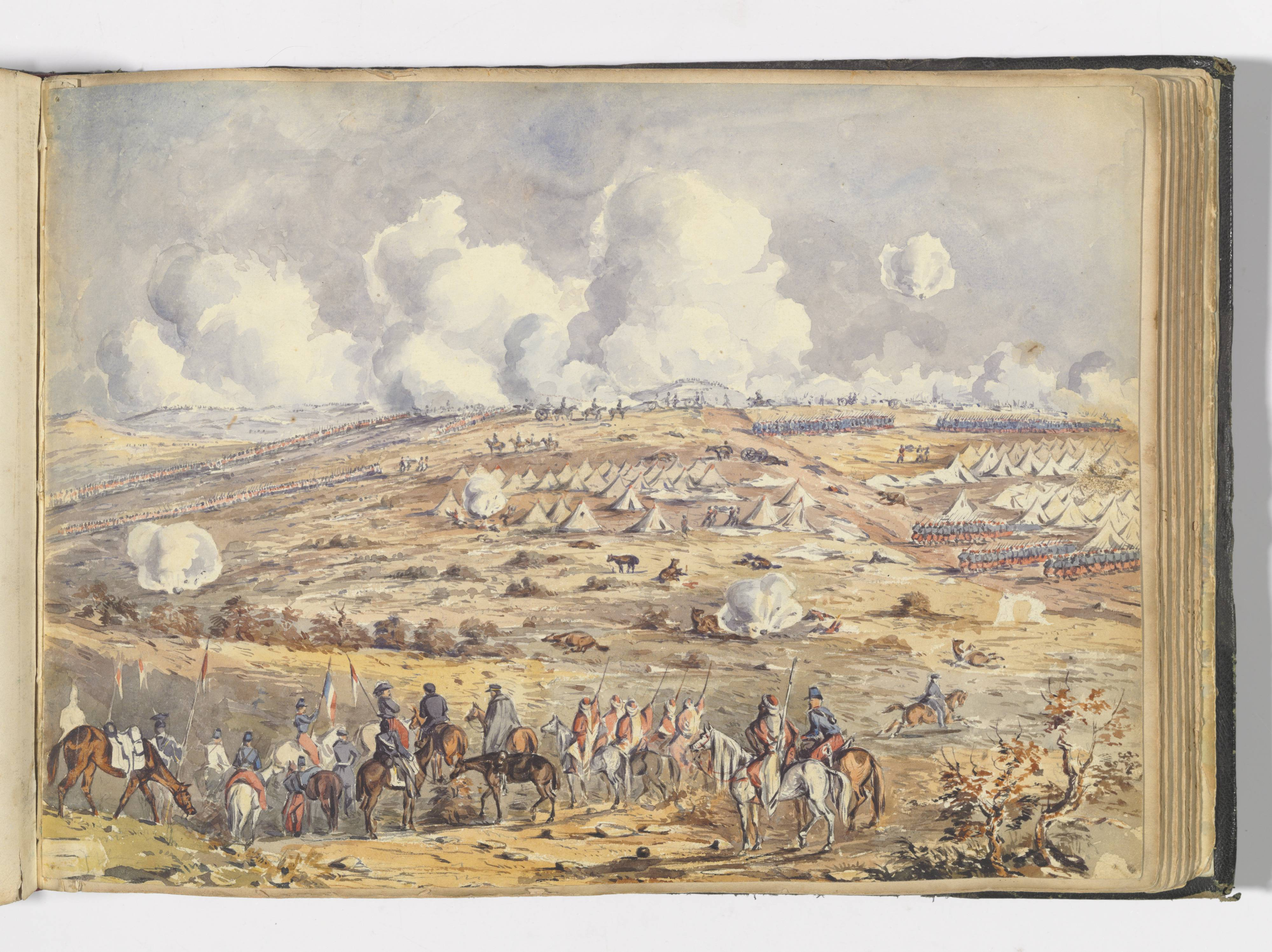Watercolour painting. A view of the battlefield at Inkerman in the Crimea. Uniformed men on horseback look on in the foreground at a series of army encampment tents and skirmishes in the middle distance.