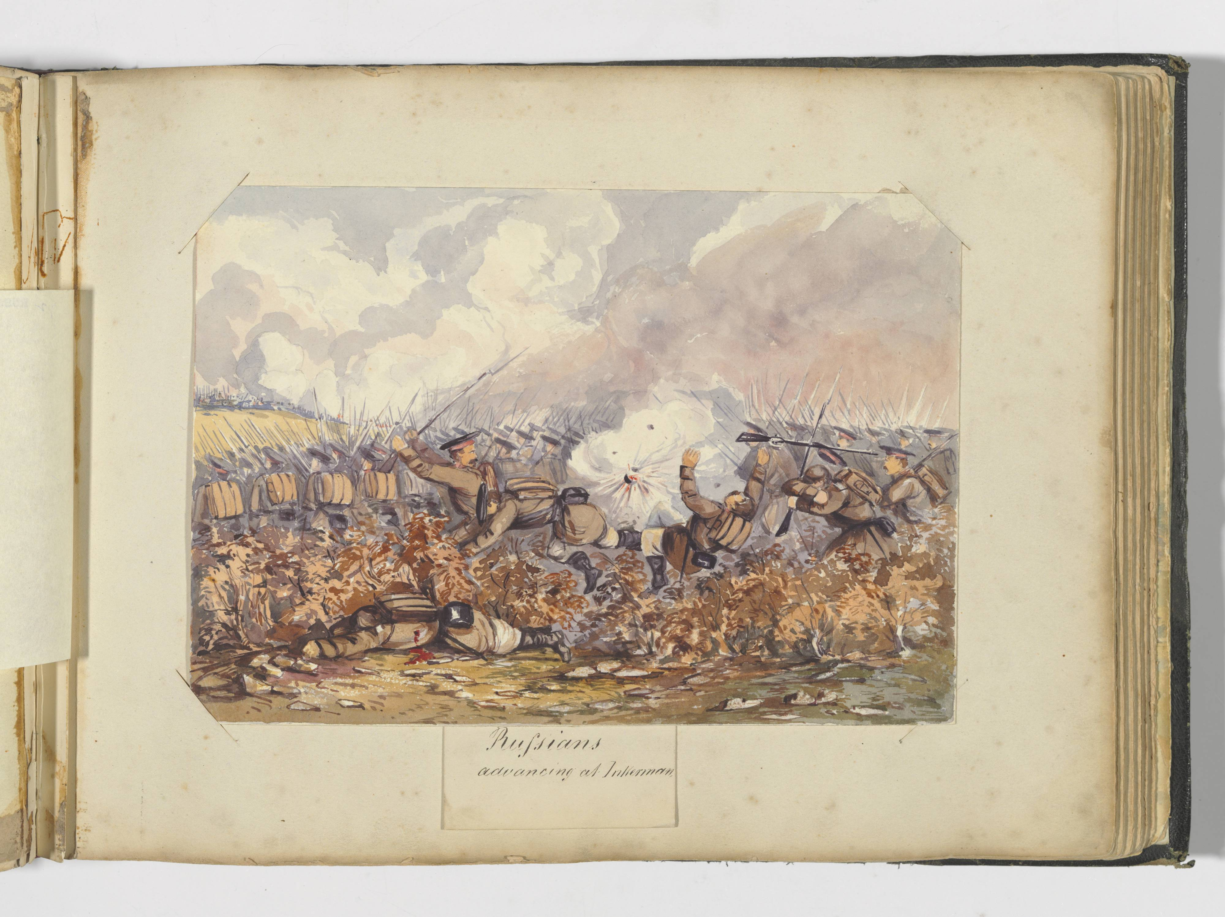 Watercolour painting. A battle scene showing troops marching into battle with bayonets. One man lies bleeding in the foreground while others are blown off their feet by an exploding shell.