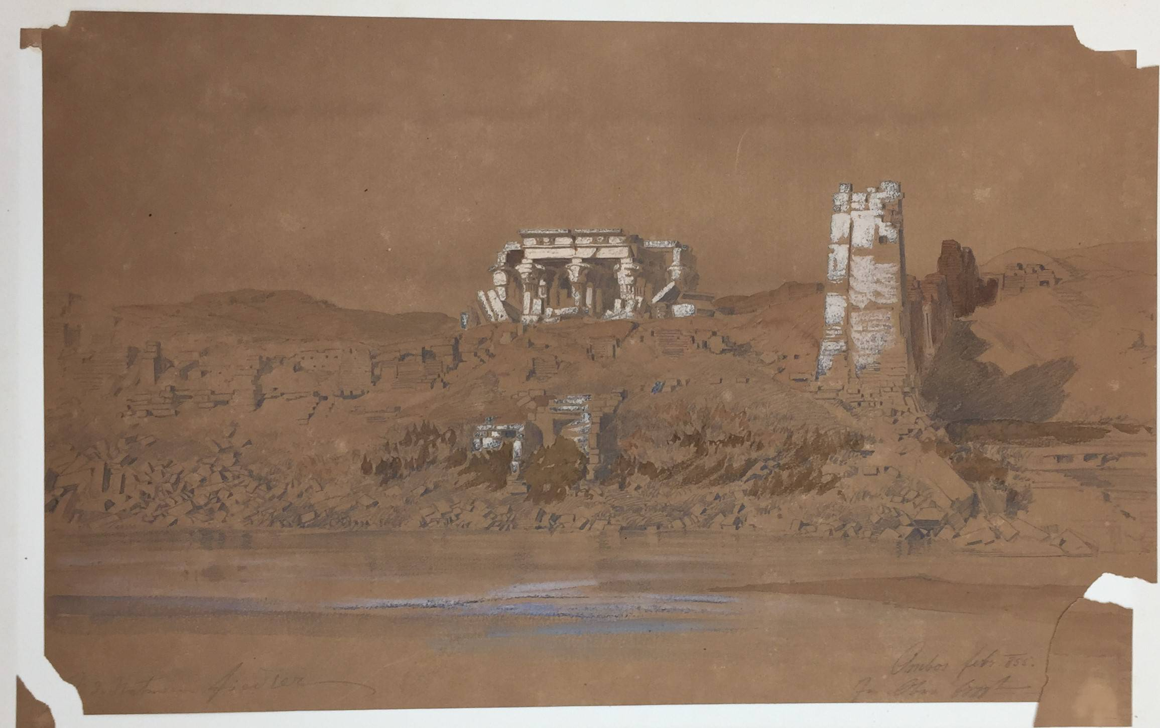 A sketch on brown paper of Kom Ombo temple in Egypt, with white highlights picking out the architecture