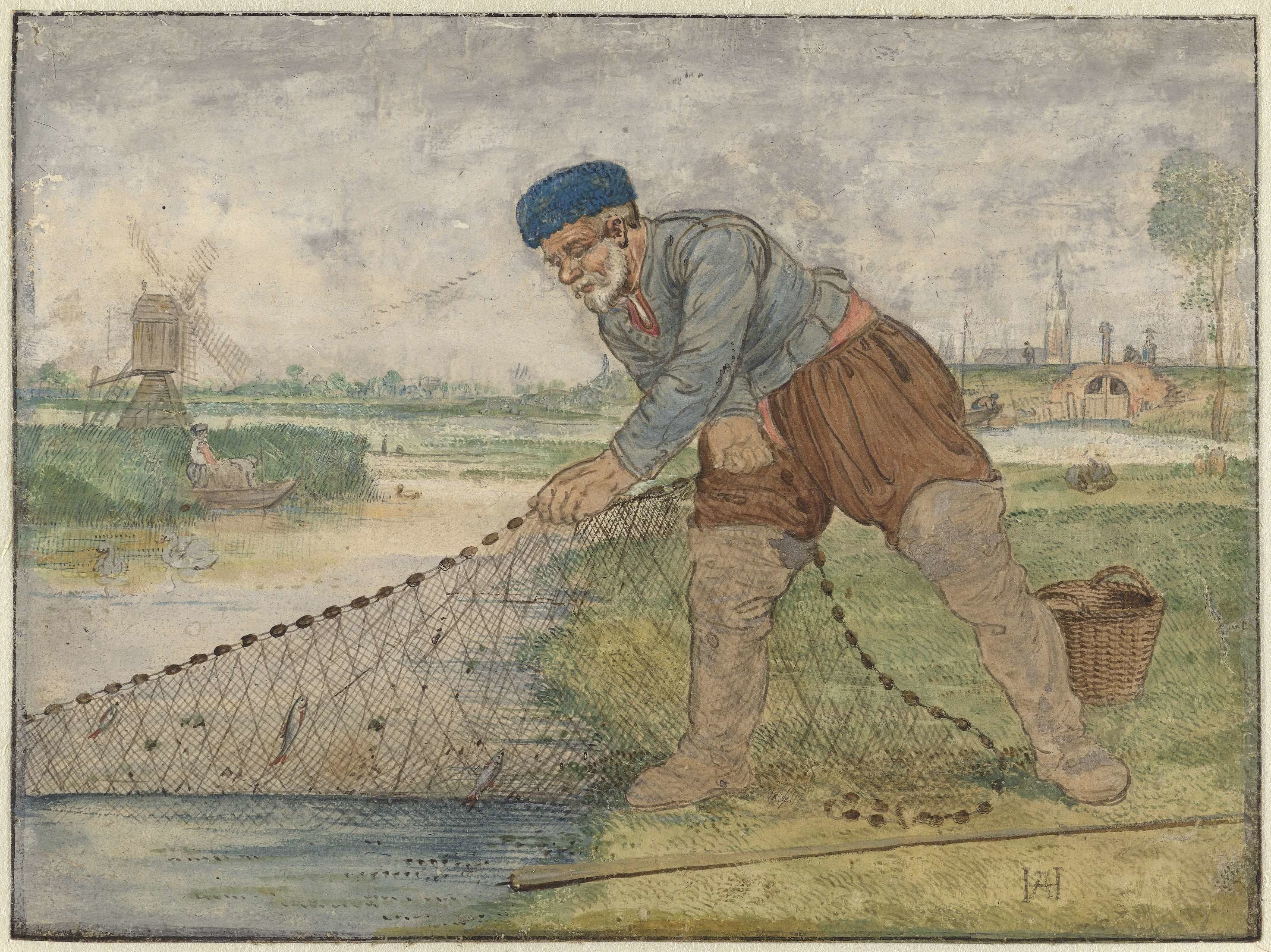 A historical watercolour painting of a fisherman hauling a fishing net out of marshy land, with a windmill visible to the left and a church in the distance at the right. Swans, ducks, and people in boats can be seen in the background.
