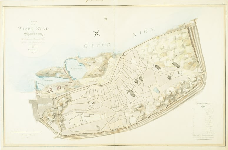 Karta Over Visby Med Ruiner Watercolour World