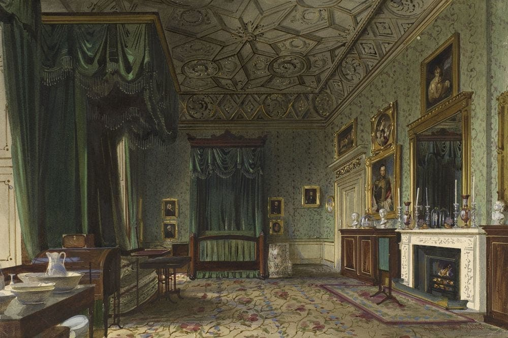 Buckingham Palace The Queens Bedroom Watercolour World